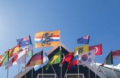 Grupp av flaggor Arkivfoton