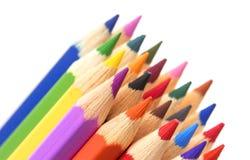 Grupp av flerfärgade blyertspennor, närbild fotografering för bildbyråer