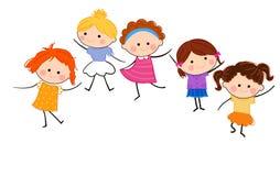 Grupp av flickor som har gyckel vektor illustrationer