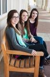 Grupp av flickor som ler på universitetsområde Arkivbild