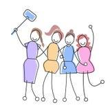 Grupp av flickor som tar Selfie med social nätverkskommunikation för pinne Arkivfoton