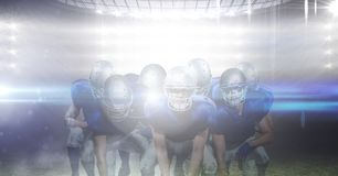 Grupp av fotbollsspelaren mot landskap 3d av mousserande ljus Arkivfoto