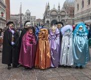 Grupp av förklätt folk Royaltyfria Bilder