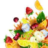 Grupp av frukter och iskuber med realistiska färgstänk av fruktsaft royaltyfri illustrationer