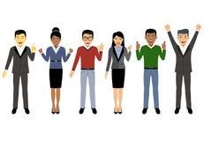 Grupp av funktionsdugligt folk, affärsmän och kvinnor i plan stil, folktecken vektor illustrationer