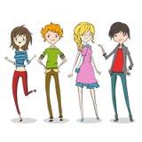 Grupp av fyra tecknad filmungdomar vektor illustrationer