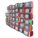 Grupp av gamla tappningtelevisioner som isoleras med den snabba banan Arkivbild