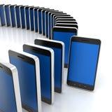 Grupp av generiska smartphones med ett anseende ut Royaltyfri Bild