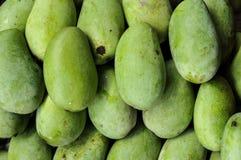 Grupp av gröna mango, tropiska frukter Fotografering för Bildbyråer