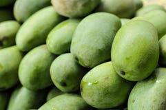 Grupp av gröna mango, tropiska frukter Royaltyfri Fotografi