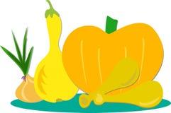 Grupp av grönsaker och höna Arkivbild