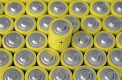 Grupp av gula batterier Royaltyfri Bild