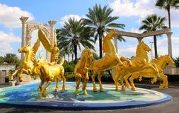 Grupp av guld- hästar Arkivbild