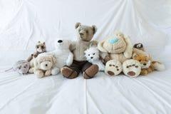 Grupp av gulliga välfyllda djur på en vit soffa arkivfoton