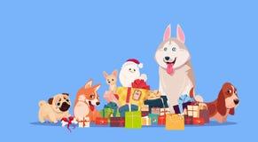 Grupp av gulligt hundsammanträde på gåvabunten Synbol av det nya året 2018 ferie närvarande garnering stock illustrationer