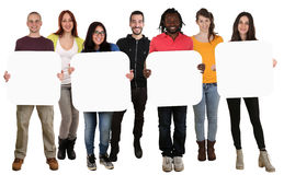 Grupp av hållande copyspace för ungt mång- etniskt folk för fyra le Arkivfoton