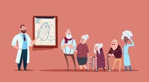 Grupp av högt folk på konsultation med doktorn, pensionärer i sjukhushälsovårdbegrepp stock illustrationer