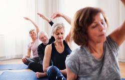 Grupp av h?gt folk som g?r yoga?vning i allaktivitetshusklubba royaltyfri foto