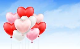 Grupp av hjärtaballongen som svävar i blå himmel stock illustrationer