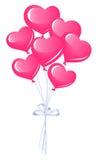 Grupp av hjärtaballonger Arkivbilder