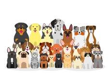 Grupp av hundkapplöpning och katter stock illustrationer