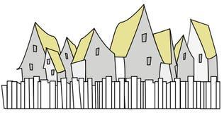 Grupp av hus med gulingtak med det främsta staketet royaltyfri illustrationer