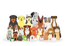 Grupp av husdjur royaltyfri illustrationer