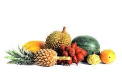 Grupp av isolaten för asiatisk eller tropisk frukt på vit bakgrund Arkivfoton