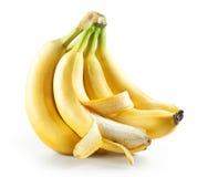 Grupp av isolerade bananer med öppen Royaltyfria Foton