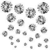 Grupp av isolerade diamanter Royaltyfria Foton