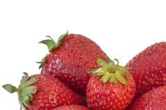 Grupp av jordgubbar på vit bakgrund Arkivbilder