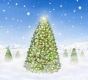 Grupp av julgranar som snöar utomhus Royaltyfria Bilder