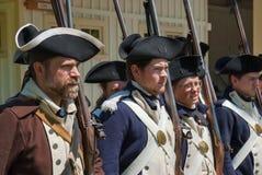 Grupp av justerade soldater Royaltyfri Bild