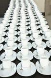 Grupp av kaffekoppar Töm koppar för kaffe Många rader av den vita koppen för tjänste- te eller kaffe i frukost på bufféhändelsen  Royaltyfri Foto