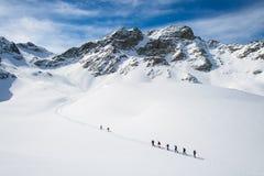 Grupp av klättrare roped till toppmötet arkivbild