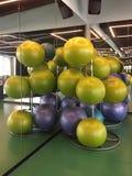 Grupp av konditionbollar i ?vningsgrupp royaltyfri foto