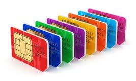 Grupp av kort för färg SIM Fotografering för Bildbyråer