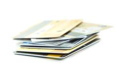 Grupp av kreditkortar Arkivfoto