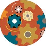 Grupp av kugghjul i cirkel royaltyfri illustrationer