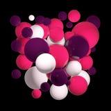 Grupp av kulöra sfärer 3d Flygsfärer, abstrakt begreppbubblor Rosa färgbollar, isolerade runda orbs illustration 3d Arkivbild