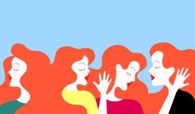 Grupp av kvinnasamtal royaltyfri illustrationer