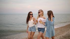 Grupp av kvinnliga vänner som har gyckel som tycker om en dryck på stranden vid havet på solnedgången i ultrarapid Unga kvinnor stock video