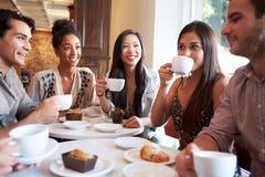 Grupp av kvinnliga vänner som möter i kaférestaurang royaltyfri fotografi
