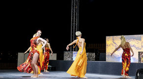 Grupp av kvinnor som dansar i en diskoklubba Royaltyfria Foton