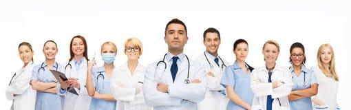 Grupp av läkare med stetoskop Arkivfoton