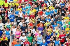 Grupp av löpare efter starten av maraton för ASICS Stockholm Royaltyfria Foton