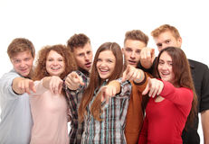 Grupp av ledare som pekar all på dig Arkivbild