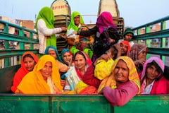 Grupp av lokala kvinnor som sitter i baksidan av en lastbil i Fatehpur Fotografering för Bildbyråer