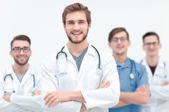 Grupp av lyckade medicinska arbetare royaltyfria bilder