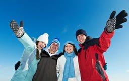 Grupp av lycklig ungdomar Fotografering för Bildbyråer